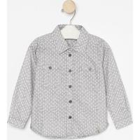 Camisa Geomã©Trica Com Bolsos- Cinza & Brancagreen