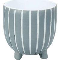 Vaso Decorativo Pequeno Com Listras Azul Cinza