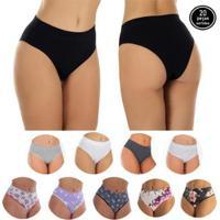 Kit Com 20 Calcinhas Cintura Alta Ajuda A Segurar A Barriga Click Mais Bonita Feminino - Feminino-Preto