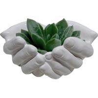 Cachepot Urban Home De Cerâmica Branco Hands Opened Grande N
