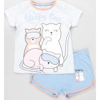 Pijama Infantil Gatinhos Manga Curta Cinza Mescla Claro
