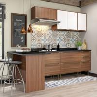 Cozinha Completa Com Bancada E Balcão Com Tampo 6 Peças Calábria Multimóveis Nogueira/Branco