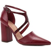 Scarpin Couro Shoestock Linear Snake - Feminino-Vinho