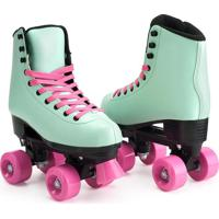 Patins Fashion Rollers Style 4 Rodas Verde/Rosa Multikids