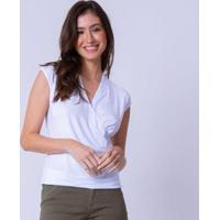 Blusa Mercatto Decote Transpasse Feminina - Feminino-Off White