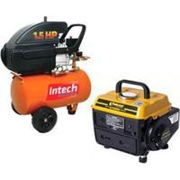 Compressor De Ar Intech Machine Ce 320 + Motogerador À Gasolina Tekna Gt950H Monofásico 2T - 950W