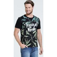 Camiseta Masculina Estampa Folhas Marisa