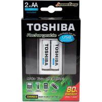 Carregador De Pilha Usb Aa/Aaa Toshiba Com 2X Pilhas Aa - 73204