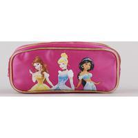 Estojo Escolar Infantil Princesas Com Divisórias Pink
