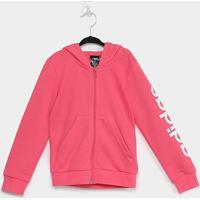 Jaqueta Infantil Adidas Capuz Yg E Lin Fz Hd Feminina - Feminino-Rosa+Branco