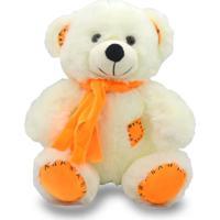 Urso De Pelúcia Com Cachecol 25Cm - Laranja - Unik Toys