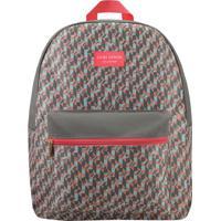 Mochila Com Estampa Geométrica - Cinza & Coral - 42Xjacki Design