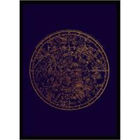 Quadro Decorativo Com Moldura Celestial Azul E Preto (33X24)