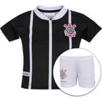 Kit De Uniforme De Futebol Do Corinthians Para Bebê  Camisa + Calção -  Infantil - 26ae90d2abccb
