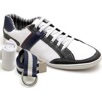 Kit Sapatênis Dexshoes Com Cinto E Meia Casual - Masculino-Branco