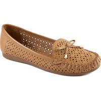 Mocassim Confortável Feminino Vazado Laço Sapato Show 21414