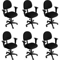 Conjunto 6 Cadeiras De Escritório Giratória Preto