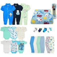 Kit Bebê 20 Pçs Enxoval E Manta Inverno Azul