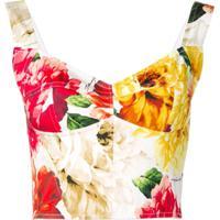 Dolce & Gabbana Blusa Cropped Com Estampa Floral - Vermelho