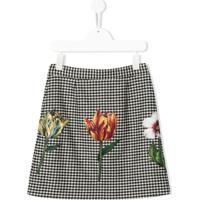 Dolce & Gabbana Kids Saia Pied-De-Poule Com Aplicação Floral - Preto