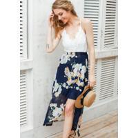Vestido Longo Floral Cintura Alta Com Fenda
