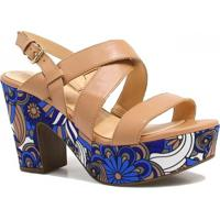 Sandália Zariff Shoes Plataforma Verniz - Feminino-Caramelo