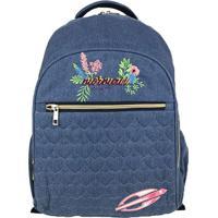 Mochila Jeans- Azul & Rosa- 44X33X15Cm- Santinosantino