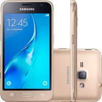 "Smartphone Samsung Galaxy J1 J120M - Dourado - 8Gb - Dual-Chip - 5Mp - Tela 4.5"" - Android 5.1"