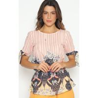 Blusa Com Amarraã§Ã£O & Elã¡Stico - Rosa Claro & Azul Marinestilo H