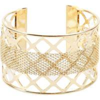 Pulseira Bracelete Com Textura Trançada Dourado Do