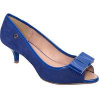 Peep Toe Em Couro Com Laço- Azul Royal- Salto: 6,5Cmcarmen Steffens