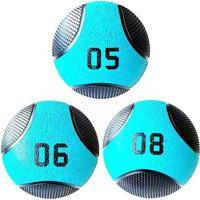Kit 3 Medicine Ball Liveup Pro 5 6 E 8 Kg Bola De Peso Treino Funcional - Unissex