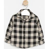 Camisa Flanelada Xadrez- Preta & Bege- Pequena Maniapequena Mania