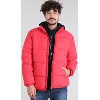 04d2d612a CEA; Jaqueta Masculina Puffer Com Bolsos Vermelha