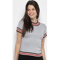 Blusa Ms Fashion Tricot Color Block Feminina - Feminino-Cinza