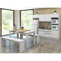 Cozinha Compacta Allana 4 Peças Glamy 7 Portas E 2 Gavetas Branco E Branco