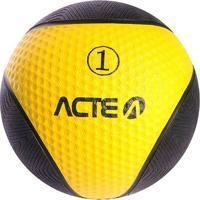 Medicine Ball Com 1 Kilo - Preto & Amarelo - Ø19Cm