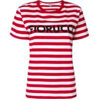 Fiorucci Camiseta Listrada Com Logo - Branco