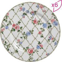 Conjunto De Pratos Rasos Flat Floral- Branco & Rosa-Scalla Cerâmica