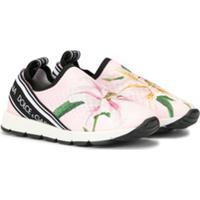 Dolce & Gabbana Kids Tênis Slip-On Com Estampa Floral - Rosa