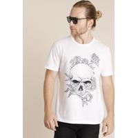 Camiseta Masculina Caveira Com Flores Manga Curta Gola Careca Branca