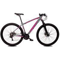 Bicicleta Aro 29 Quadro 15 Alumínio 21 Marchas Freio Disco Mecânico Z1-X Cinza/Rosa - Dropp