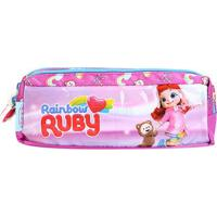 Estojo Escolar Rainbow Ruby Pacific-981D17 - Feminino-Rosa