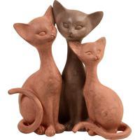 Escultura Decorativa De Resina Trio Felino