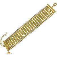 Pulseira Estilo Bracelete Com Detalhes Em Strass 3Rs Semijoias Dourado