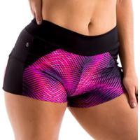 Shorts Anna Íon Fitness Com Recorte Em Tule - Feminino