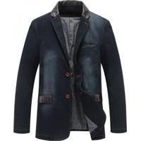 Blazer Jeans Masculino - Azul Escuro Xgg