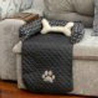 Protetor De Sofá Pet Cachorro Ou Gato Preto Impermeável 45Cm X 88Cm X 15Cm + Almofada Ossinho