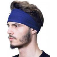 Bandana Headband Proteção Uv50+ Esportes Faixa Touca Slim Fitness - Masculino-Azul Escuro