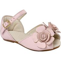 Sapatilha Peep Toe Em Couro Com Flor- Rosa Claroprints Kids